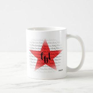Logotipo de FHL (fe, esperanza y amor) All Star Taza Básica Blanca