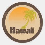 Logotipo de Hawaii del vintage Pegatina Redonda