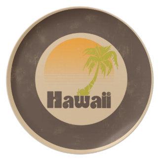 Logotipo de Hawaii del vintage Platos Para Fiestas