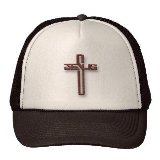 Logotipo de Jesús en caoba Gorros Bordados