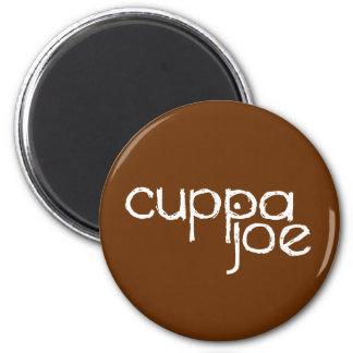 logotipo de Joe del cuppa en blanco - Imán Redondo 5 Cm