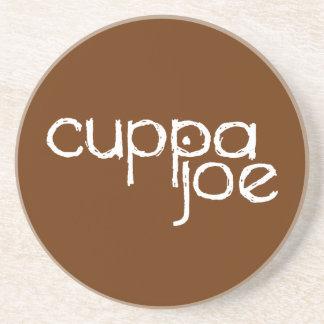 logotipo de Joe del cuppa en blanco - Posavasos Personalizados