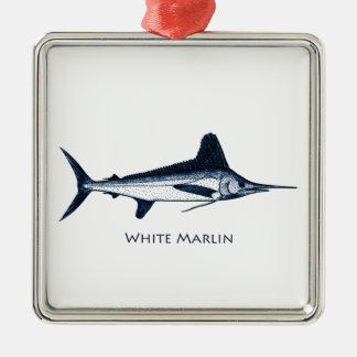 Logotipo de la aguja blanca adorno navideño cuadrado de metal