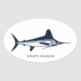 Logotipo de la aguja blanca pegatina ovalada
