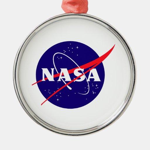 Logotipo de la albóndiga de la NASA Adorno Navideño Redondo De Metal