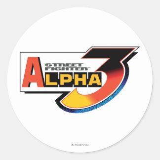 Logotipo de la alfa 3 de Street Fighter Pegatina Redonda