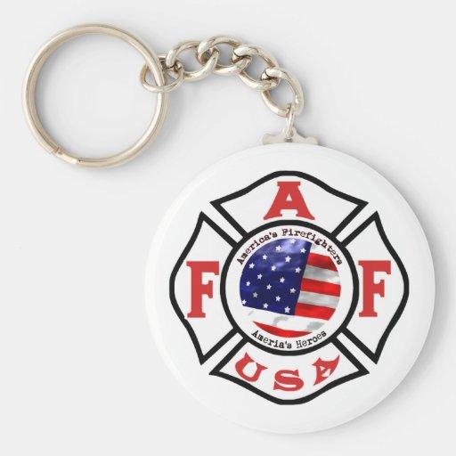 Logotipo de la bandera de los bomberos de América Llavero Redondo Tipo Pin