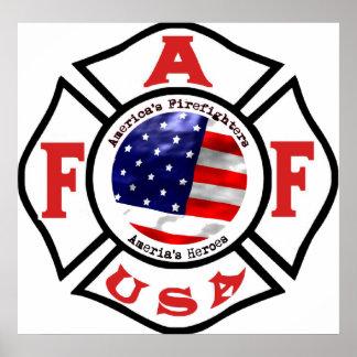 Logotipo de la bandera de los bomberos de América Poster