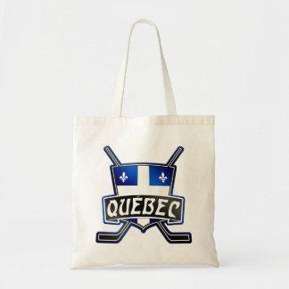 Logotipo de la bandera del hockey de Quebec Bolsa Tela Barata