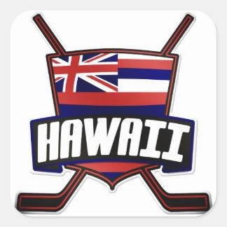Logotipo de la bandera del hockey sobre hielo de colcomanias cuadradases