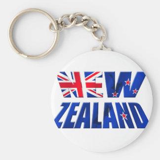Logotipo de la bandera del kiwi de Nueva Zelanda A Llavero Redondo Tipo Pin