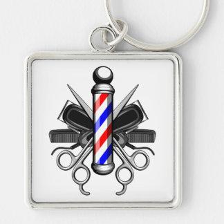 Logotipo de la barbería llavero cuadrado plateado