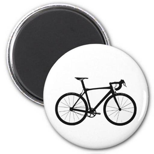 Logotipo de la bici del camino imán redondo 5 cm