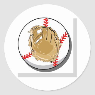 Logotipo de la bola y del guante etiquetas redondas