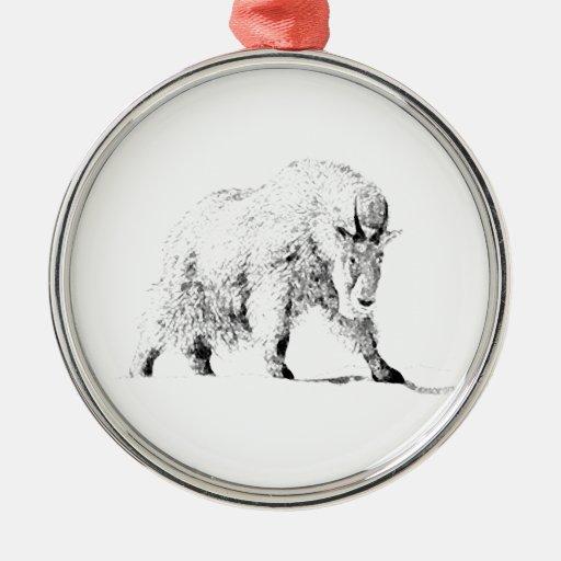 Logotipo de la cabra de montaña (línea arte) adorno navideño redondo de metal