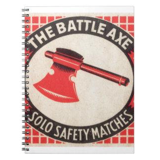 Logotipo de la caja de cerillas del hacha de la ba libretas