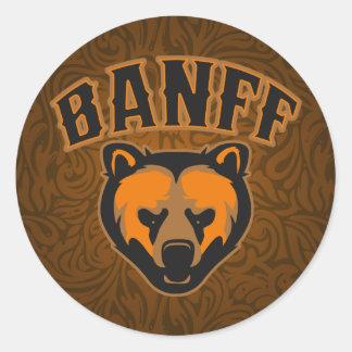 Logotipo de la cara del oso de Banff Pegatina Redonda