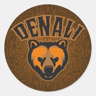 Logotipo de la cara del oso de Denali Etiquetas Redondas