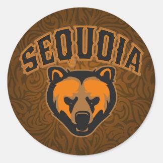 Logotipo de la cara del oso de la secoya pegatina redonda