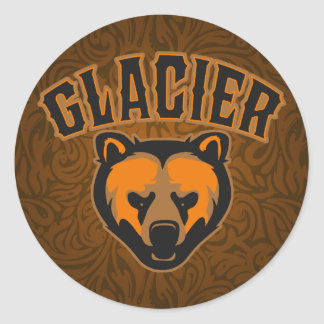 Logotipo de la cara del oso del glaciar pegatina redonda