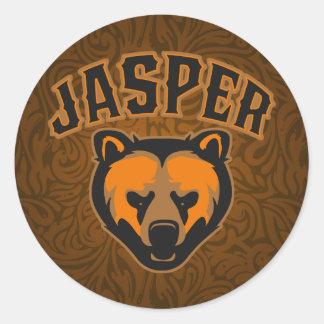 Logotipo de la cara del oso del jaspe pegatina redonda