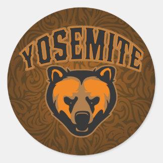 Logotipo de la cara del oso del parque nacional de pegatina redonda
