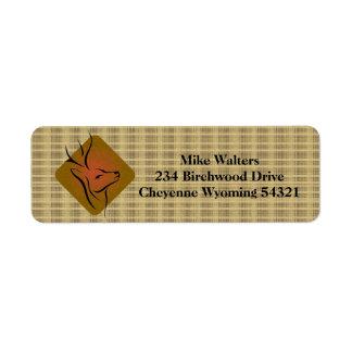 Logotipo de la caza de los ciervos etiquetas de remite