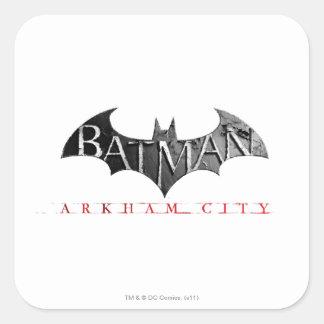 Logotipo de la ciudad de Batman Arkham Calcomania Cuadradas Personalizada