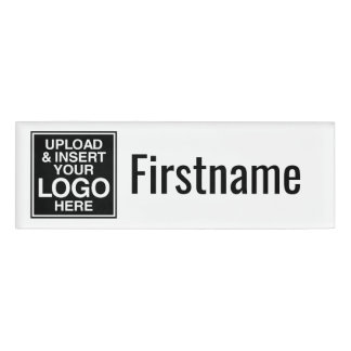 Logotipo de la compañía con el área para el nombre etiqueta con nombre