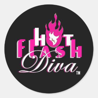Logotipo de la diva del flash caliente para Bkg Etiqueta Redonda