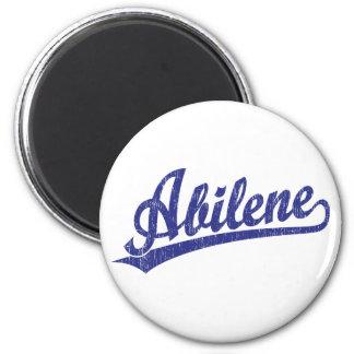 Logotipo de la escritura de Abilene en azul Imán Redondo 5 Cm