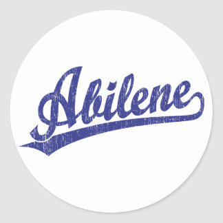 Logotipo de la escritura de Abilene en azul Pegatina Redonda