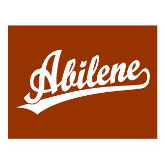Logotipo de la escritura de Abilene en blanco Tarjeta Postal