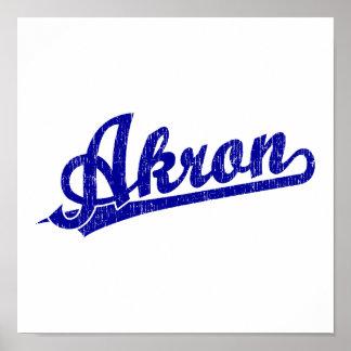 Logotipo de la escritura de Akron en azul Póster
