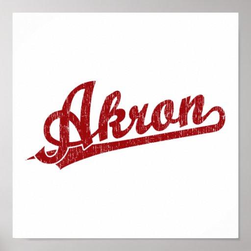 Logotipo de la escritura de Akron en rojo Impresiones