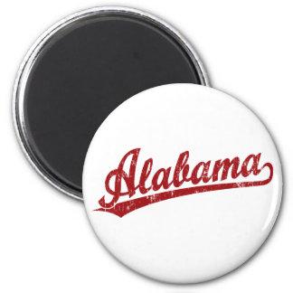 Logotipo de la escritura de Alabama en rojo Imán Redondo 5 Cm