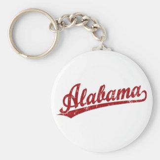 Logotipo de la escritura de Alabama en rojo Llavero Redondo Tipo Pin
