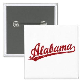 Logotipo de la escritura de Alabama en rojo Pin Cuadrado