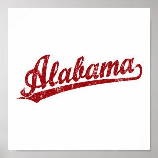 Logotipo de la escritura de Alabama en rojo Póster