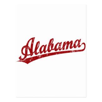 Logotipo de la escritura de Alabama en rojo Tarjetas Postales