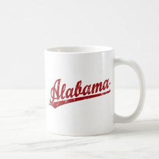 Logotipo de la escritura de Alabama en rojo Taza Clásica