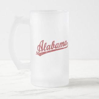 Logotipo de la escritura de Alabama en rojo Taza De Cristal