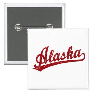 Logotipo de la escritura de Alaska en rojo Pin Cuadrado