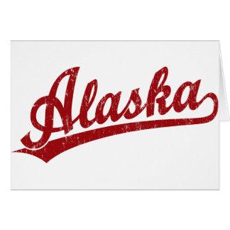 Logotipo de la escritura de Alaska en rojo Tarjeta De Felicitación