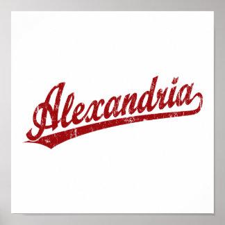 Logotipo de la escritura de Alexandría en rojo Poster