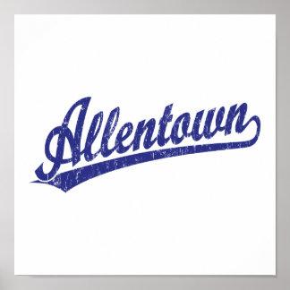 Logotipo de la escritura de Allentown en azul Poster