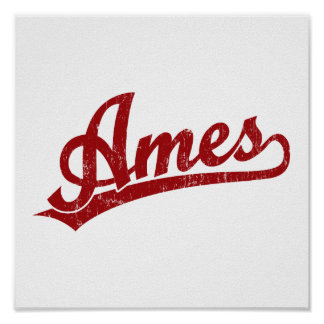 Logotipo de la escritura de Ames en rojo Posters