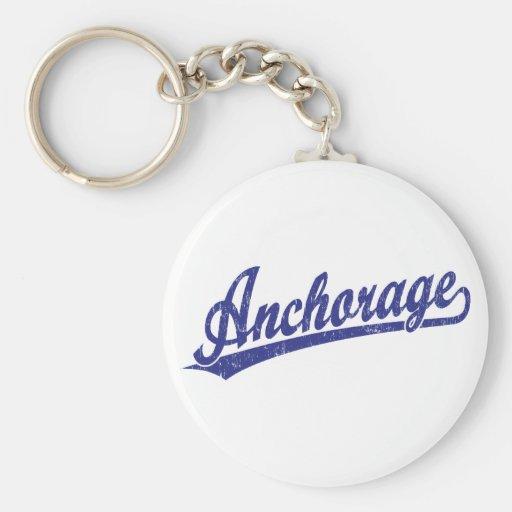 Logotipo de la escritura de Anchorage en azul Llaveros