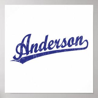 Logotipo de la escritura de Anderson en azul Posters