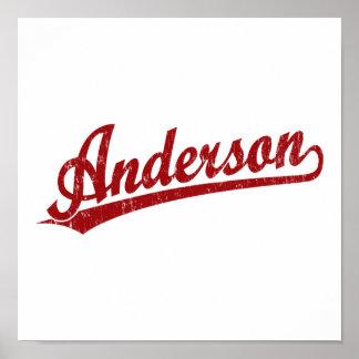 Logotipo de la escritura de Anderson en rojo Posters